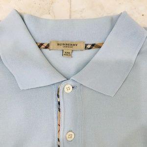 BURBERRY Nova Check Polo Shirt Light Blue Logo XXL